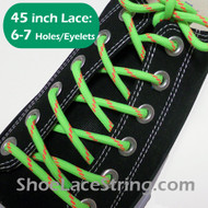 Neon Green & Neon Orange 45INCH Round ShoeLaces String 1 Pairs