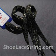 Gold in Black Glitter Shoe Lace Sparkling Shoe String 45IN  1 PRs