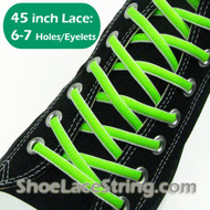 Neon Green & White Oval 45INCH ShoeLaces ShoeStrings  1 PRs