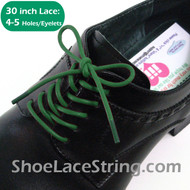 Green 30INCH Dress Shoe Laces Round Thin Shoe String, 1PAIR
