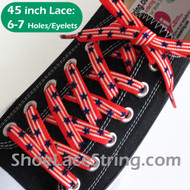American Flag Color Star ShoeLaces ShoeString 45INCH 2PRS