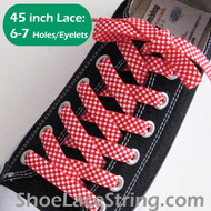 Red White Small Checkered 45INCH ShoeLaces ShoeStrings 2Pairs