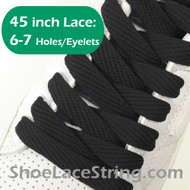 Black Flat Fat/Wide 45INCH ShoeLaces Sneaker Strings 1 PRs