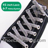 Glitter Sparkling Silver 45IN Shoe/Sneaker Laces Strings 1 Pairs