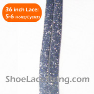 Glitter Sparkling Silver on Charcoal Grey ShoeLaces 36INCH 1 PAIR