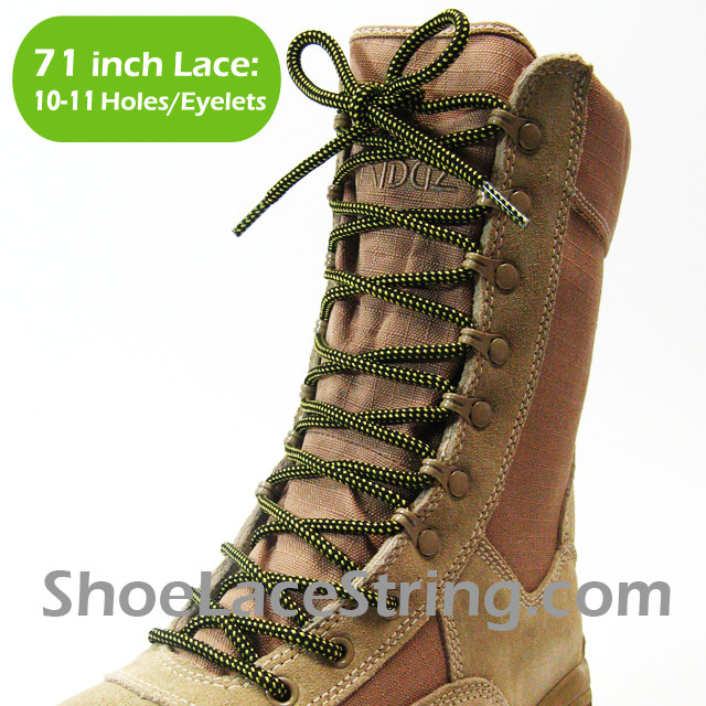 Yellow/Black 71IN Work/Combat Boots Round Laces 1PAIR