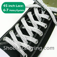 White 45IN Cool Sparkle Twinkle Sneaker ShoeLace Strings 1Pair