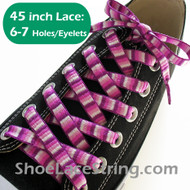 Purple Woven Rainbow Striped 45inch Shoe Laces Strings 1Pair