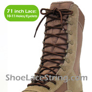 Dark Beige & Brown 71IN Work/Combat Boots Round Stripe Laces