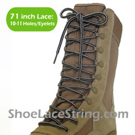 "Light Gray & Dark Brown 71"" Work/Combat Boots Round Stripe Laces"