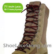 Red & Black 71IN Work/Combat Boots Round Stripe Laces