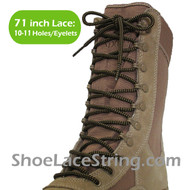 Dark Brown & Beige 71IN Work/Combat Boots Round Laces 1PAIR