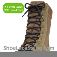 Gray(Grey) & Black 71IN Work/Combat Boots Round Laces 1PAIR