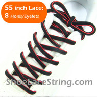 Red on Black 55inch Oval ShoeLace Shoe String 1Pair