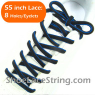 Blue on Black 55inch Oval ShoeLace Shoe String 1Pair