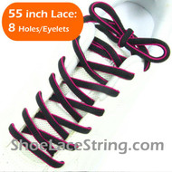Neon Hot Pink on Black 55inch Oval ShoeLace Shoe String 1Pair
