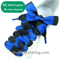 42INCH Blue & Black Striped Extra Wide Shoe Sneaker Laces 1Pair
