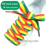 42INCH Rasta Red Yellow Green Striped Extra Wide Shoe Sneaker Laces 1Pair