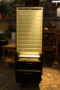 Banana Republic glass shelving wall unit with mirrors and drawers