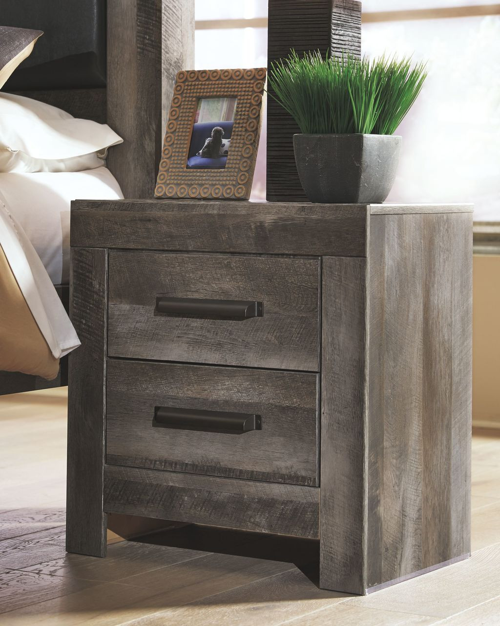 d24f3880245f The Wynnlow Gray Two Drawer Night Stand available at Sweet Home Furniture  serving Falls Church
