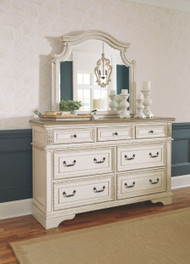 Realyn Chipped White Dresser & Mirror