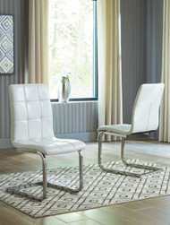Madanere White/Chrome Finish Dining UPH Side Chair (Set of 2)