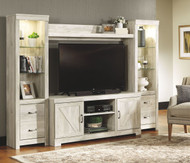 Bellaby Whitewash Entertainment Center LG TV Stand, 2 Piers & Bridge