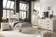 Cambeck Whitewash 7 Pc. Dresser, Mirror, Chest & Twin Panel Bed with Side Storage