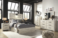 Cambeck Whitewash 7 Pc. Dresser, Mirror, Chest & Full Panel Bed with Side Storage