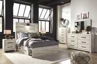 Cambeck Whitewash 7 Pc. Dresser, Mirror & Full Panel Bed with 2 Storages