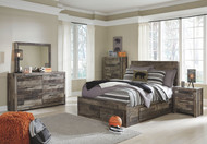 Derekson Multi Gray 9 Pc. Dresser, Mirror, Full Panel Bed with 2 Storages & 2 Nightstands