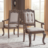 Charmond Brown Dining Upholstered Arm Chair