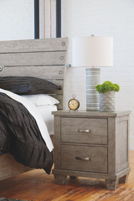 Naydell Rustic Gray Two Drawer Night Stand