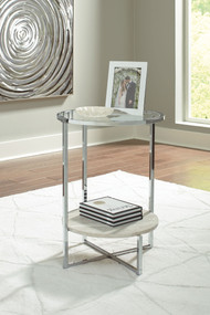 Bodalli Ivory/Chrome Round End Table