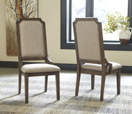 Wyndahl Rustic Brown Dining Upholstered Side Chair (2/CN)