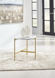 Wynora White/Gold Chair Side End Table
