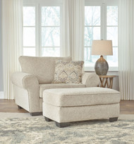 Haisley Ivory 2 Pc. Chair and a Half, Ottoman