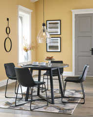Centiar Gray/Black 5 Pc. Round Dining Room Table, 4 Upholstered Side Chairs