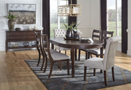 Adinton Reddish Brown 8 Pc. Oval Dining Room Extension Table, 4 Side Chairs, 2 Upholstered Side Chairs, Server