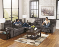 Acieona Slate 2 Pc. Reclining Sofa with Drop Down Table & Double Rec Loveseat with Console