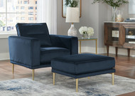 Macleary Navy 2 Pc. Chair, Ottoman