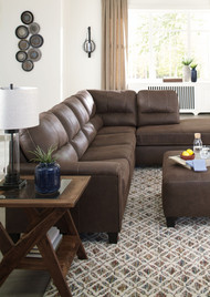 Navi Chestnut 5 Pc. Left Arm Facing Sofa, Right Arm Facing Corner Chaise Sectional, Accent Ottoman, Charzine End Tables
