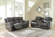 Edmar Charcoal 2 Pc. Power Reclining Sofa with Adjustable Headrest, Power Reclining Loveseat with CON/Adjustable Headrest