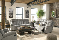 Mitchiner Fog REC Sofa with Drop Down Table, DBL REC Loveseat with Console & Rocker Recliner