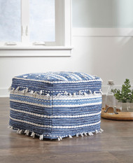 Anthony Blue/White Pouf