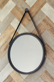 Dusan Black Round Accent Mirror