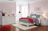 Dreamur Champagne Dresser, Mirror, Full Panel Bed & Nightstand