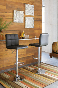 Adjustable Height Barstools Black/Chrome Finish Tall Upholstered Swivel Barstool