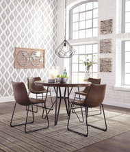 Centiar Two-tone Brown 5 Pc. Round Dining Room Table & 4 Upholstered Side Chairs