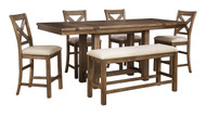 Moriville Gray 6 Pc. Rectangular Dining Room Counter Extension Table, 4 Upholstered Barstools & Double Upholstered Bench